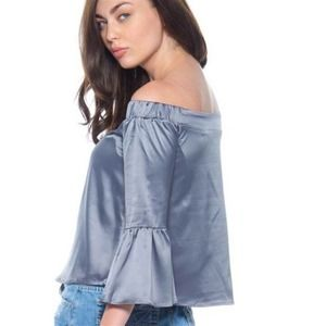 Satin Off-Shoulder Bell Sleeve Top Gray/Blue NEW-S